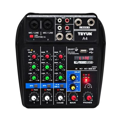 Mixer Audio Teyun A4, 4 Ingressi, Uscite per registrare, Effetti audio, Bluetooth