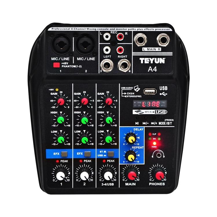 Mixer Audio Teyun A4, 4 Ingressi, Uscite per registrare, Effetti audio, Bluetooth