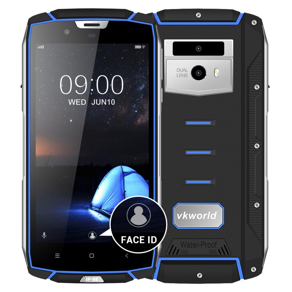 """Smartphone VK7000 - Certificato IP68, Schermo 5.2"""", Octa Core Android 8.0 - Blu"""