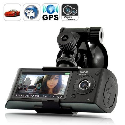DVR Blackbox per auto - Dual Camera, GPS, Schermo LCD 2,7""