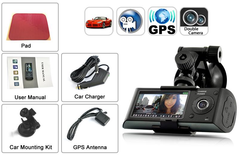 """DVR Blackbox per auto - Dual Camera, GPS, Schermo LCD 2,7"""""""
